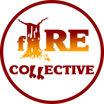 The fIRE Collective logo. A maroon and yellow logo with the iconic